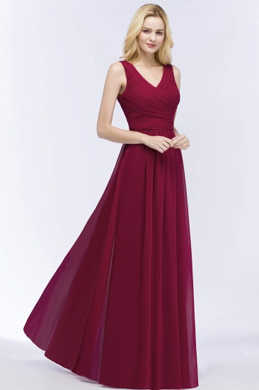 Vintage Sleeveless Pleated Burgundy Chiffon Bridesmaid Dresses Cheap_7