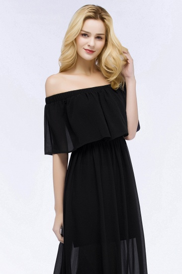 BMbridal Affordable Black Off-the-shoulder Long Chiffon Bridesmaid Dress Online_7