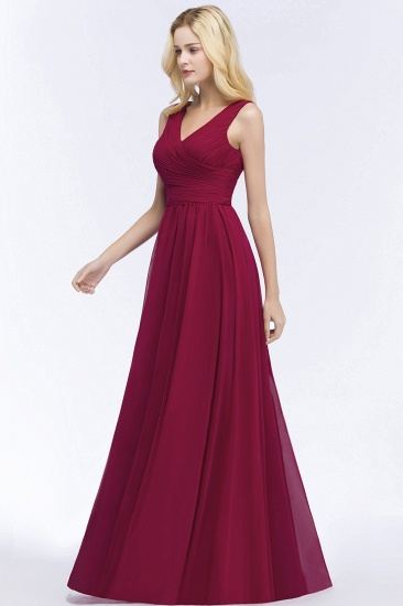 Vintage Sleeveless Pleated Burgundy Chiffon Bridesmaid Dresses Cheap_6