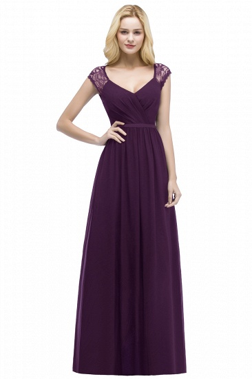 BMbridal Elegant A-line Chiffon Lace V-neck Long Affordable Bridesmaid Dresses In Stock_2