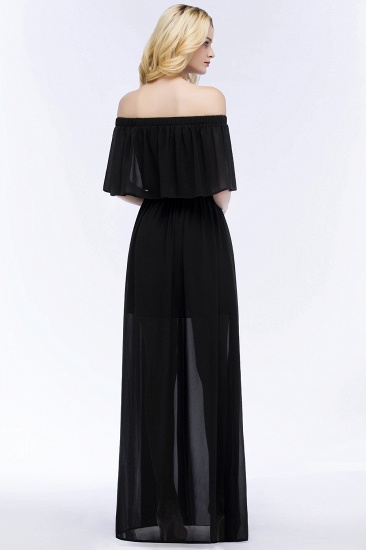 BMbridal Affordable Black Off-the-shoulder Long Chiffon Bridesmaid Dress Online_3