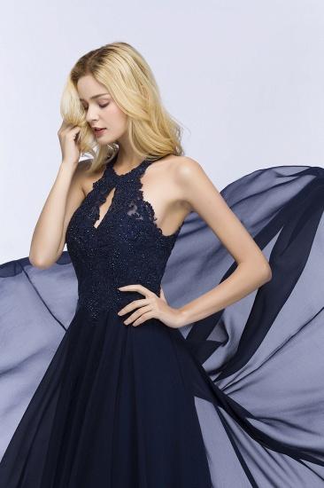 BMbridal A-line Keyhole Neckline Halter Long Beading Prom Dress_8