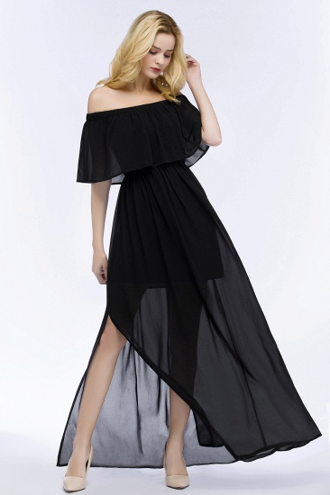 BMbridal Affordable Black Off-the-shoulder Long Chiffon Bridesmaid Dress Online_6