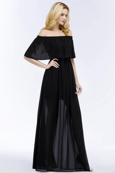 BMbridal Affordable Black Off-the-shoulder Long Chiffon Bridesmaid Dress Online_5