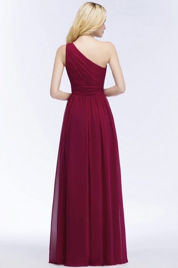 Chic One-shoulder Sleeveless Burgundy Chiffon Bridesmaid Dresses Online_53