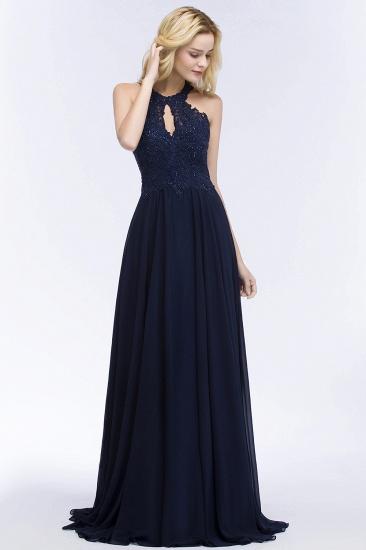 BMbridal A-line Keyhole Neckline Halter Long Beading Prom Dress_6