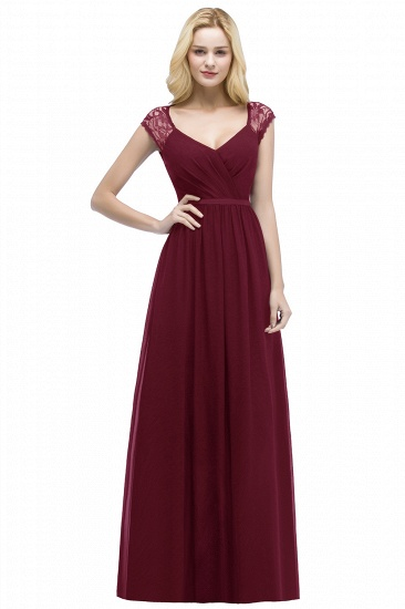 BMbridal Elegant A-line Chiffon Lace V-neck Long Affordable Bridesmaid Dresses In Stock_1