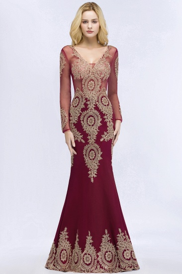 BMbridal Glamorous Long Sleeve Mermaid Prom Dress Long Evening Party Gowns With Lace Appliques_9