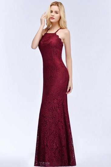 Sexy Mermaid Lace Long Burgundy Bridesmaid Dresses with Crisscross Back_8