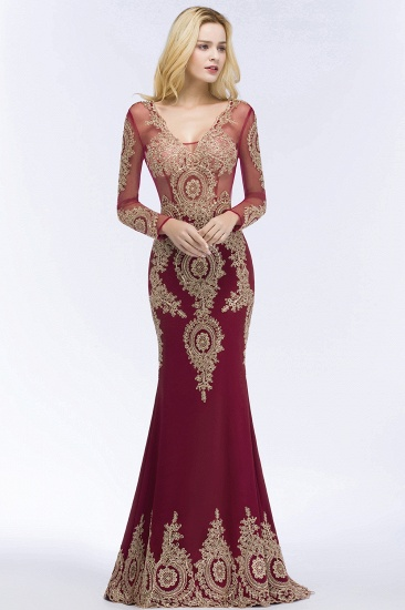 Glamorous Long Sleeve Mermaid Prom Dress Long Evening Party Gowns With Lace Appliques