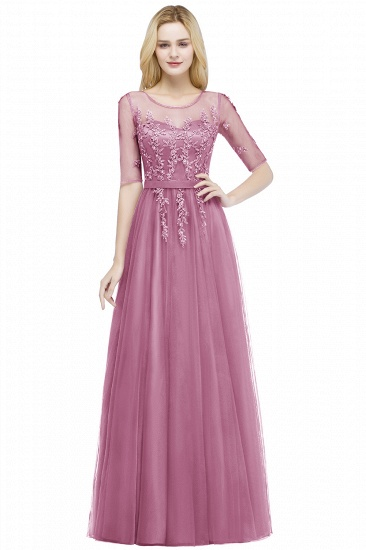 BMbridal A-line Floor Length Appliques Tulle Bridesmaid Dress with Sleeves_2