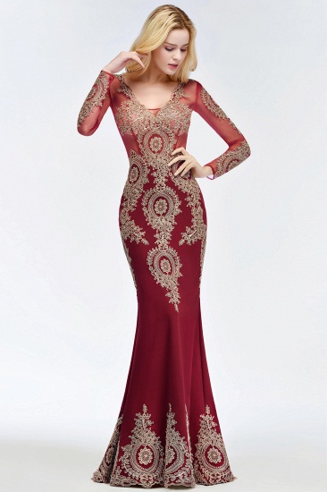 BMbridal Glamorous Long Sleeve Mermaid Prom Dress Long Evening Party Gowns With Lace Appliques_7
