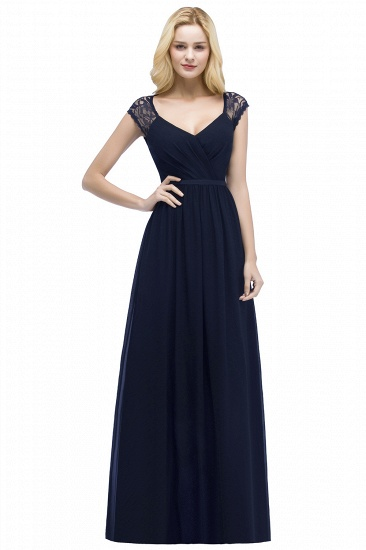 BMbridal Elegant A-line Chiffon Lace V-neck Long Affordable Bridesmaid Dresses In Stock_3