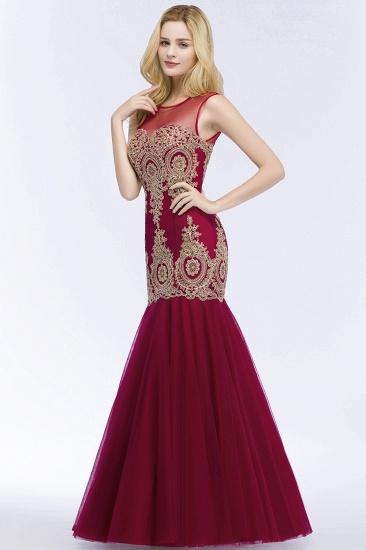 Burgundy Lace Appliques Mermaid Prom Dress Long Online_5