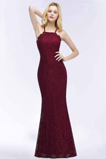 Sexy Mermaid Lace Long Burgundy Bridesmaid Dresses with Crisscross Back_2