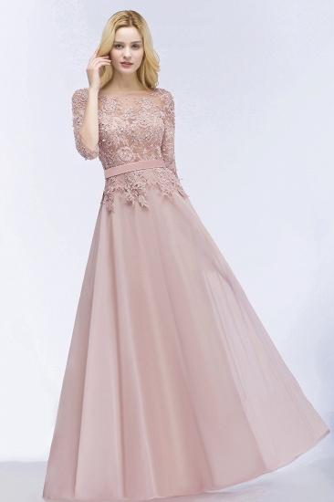 Elegant Scoop Half-Sleeves Lace Dusty Rose Bridesmaid Dress With Pearls_4