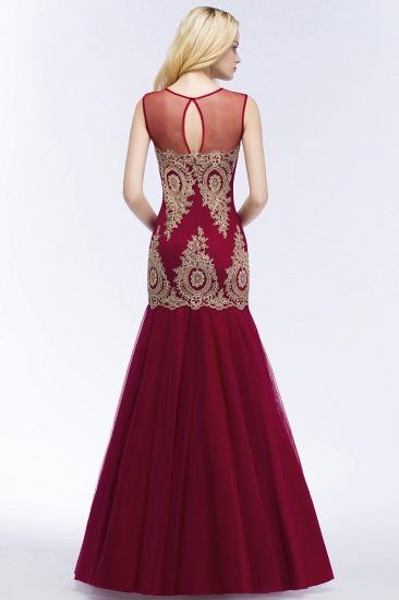 Burgundy Lace Appliques Mermaid Prom Dress Long Online_4
