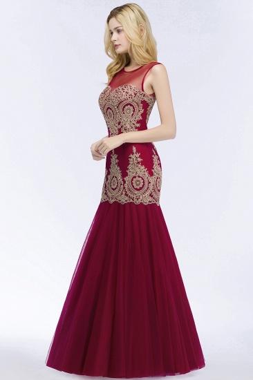 Burgundy Lace Appliques Mermaid Prom Dress Long Online_6