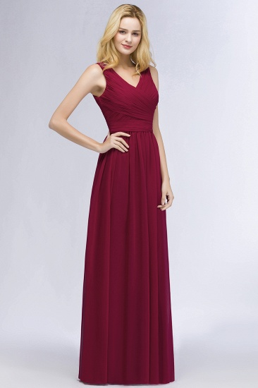 Vintage Sleeveless Pleated Burgundy Chiffon Bridesmaid Dresses Cheap_5