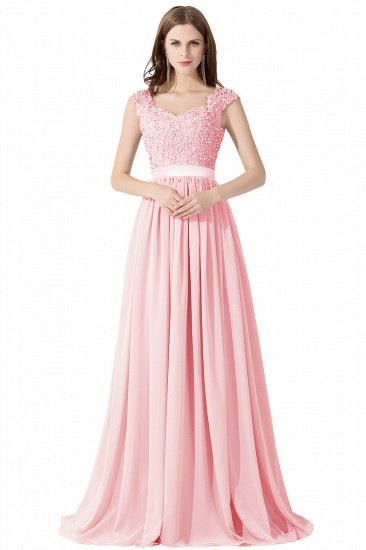 BMbridal A-line V Neck Chiffon Bridesmaid Dress with Appliques_2