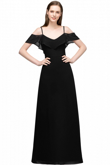 BMbridal Affordable A-line Chiffon Off-the-Shoulder V-neck Long Bridesmaid Dress In Stock_6