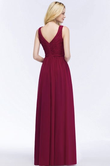 Vintage Sleeveless Pleated Burgundy Chiffon Bridesmaid Dresses Cheap_3