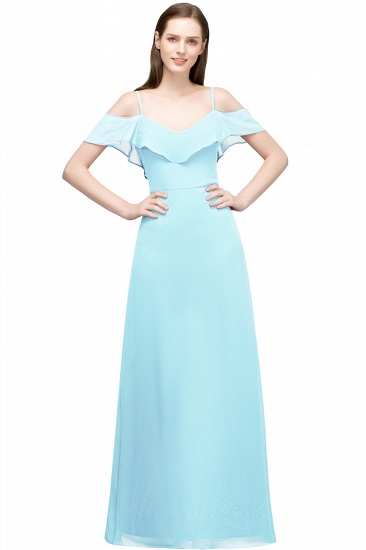 BMbridal Affordable A-line Chiffon Off-the-Shoulder V-neck Long Bridesmaid Dress In Stock_3