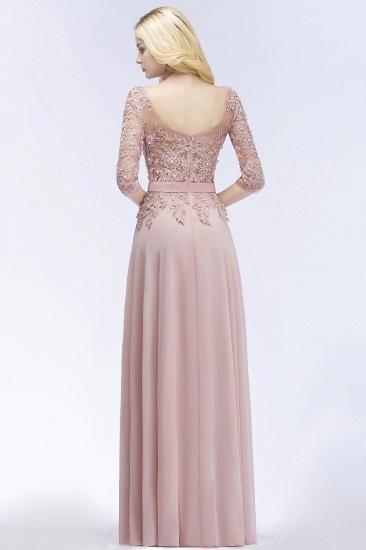 Elegant Scoop Half-Sleeves Lace Dusty Rose Bridesmaid Dress With Pearls_3