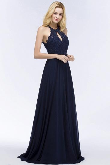 BMbridal A-line Keyhole Neckline Halter Long Beading Prom Dress_9