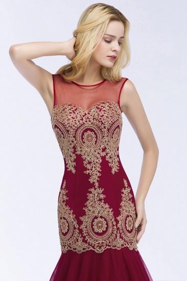 Burgundy Lace Appliques Mermaid Prom Dress Long Online_7