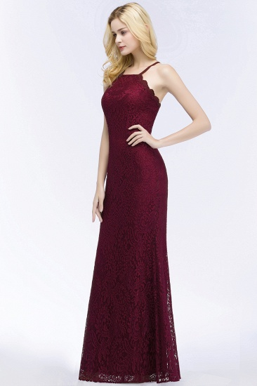 Sexy Mermaid Lace Long Burgundy Bridesmaid Dresses with Crisscross Back_7