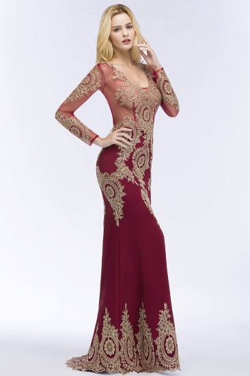 BMbridal Glamorous Long Sleeve Mermaid Prom Dress Long Evening Party Gowns With Lace Appliques_8