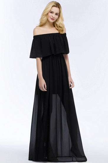 BMbridal Affordable Black Off-the-shoulder Long Chiffon Bridesmaid Dress Online_4