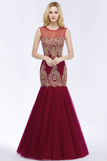 Burgundy Lace Appliques Mermaid Prom Dress Long Online