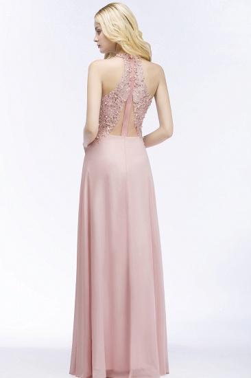 BMbridal A-line V-neck Sleeveless Long Appliques Chiffon Bridesmaid Dress_8