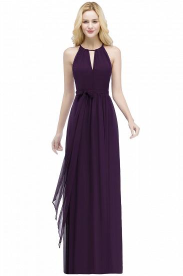 BMbridal A-line Halter Floor Length Burgundy Bridesmaid Dress with Bow Sash_2