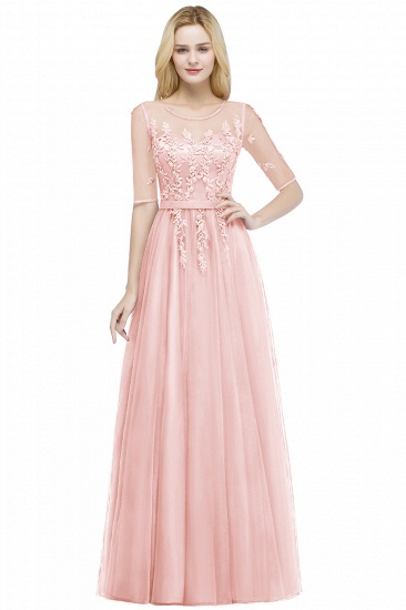 BMbridal A-line Floor Length Appliques Tulle Bridesmaid Dress with Sleeves_1