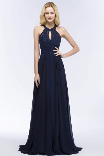 BMbridal A-line Keyhole Neckline Halter Long Beading Prom Dress_10
