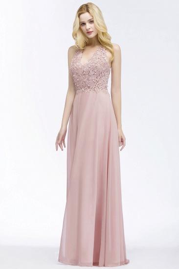 BMbridal A-line V-neck Sleeveless Long Appliques Chiffon Bridesmaid Dress_2