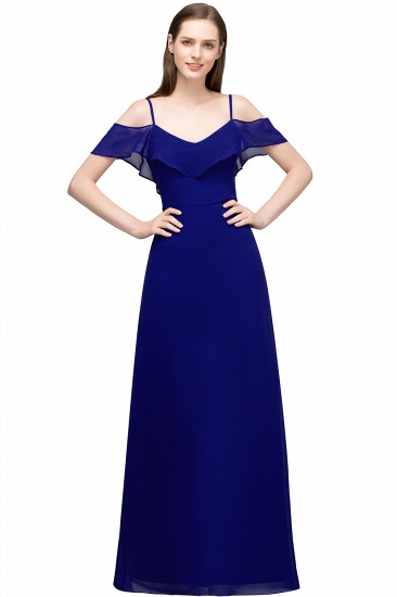 BMbridal Affordable A-line Chiffon Off-the-Shoulder V-neck Long Bridesmaid Dress In Stock_4