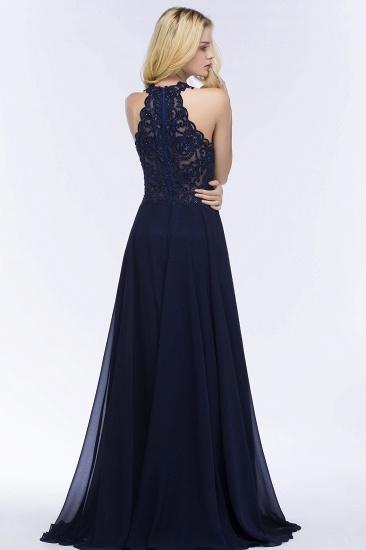 BMbridal A-line Keyhole Neckline Halter Long Beading Prom Dress_5