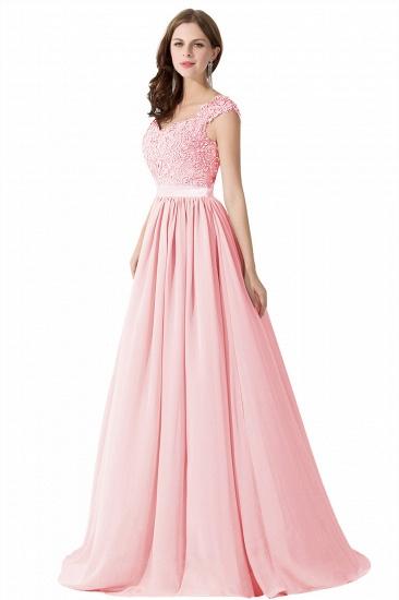 BMbridal A-line V Neck Chiffon Bridesmaid Dress with Appliques_2