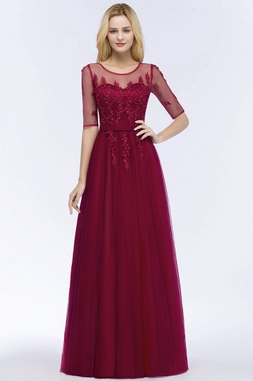 BMbridal A-line Floor Length Appliques Tulle Bridesmaid Dress with Sleeves_9