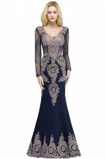 BMbridal Glamorous Long Sleeve Mermaid Prom Dress Long Evening Party Gowns With Lace Appliques_2