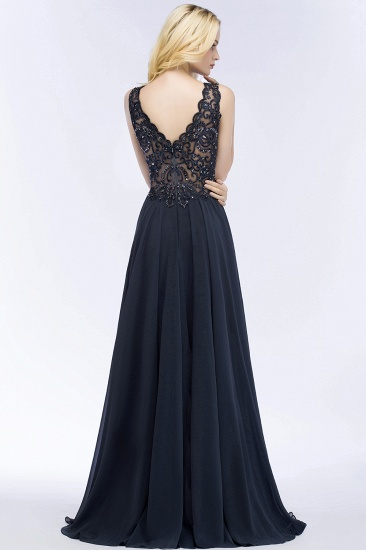 BMbridal Affordable Lace V-Neck Navy Bridesmaid Dresses With Appliques_3
