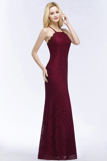 Sexy Mermaid Lace Long Burgundy Bridesmaid Dresses with Crisscross Back_1