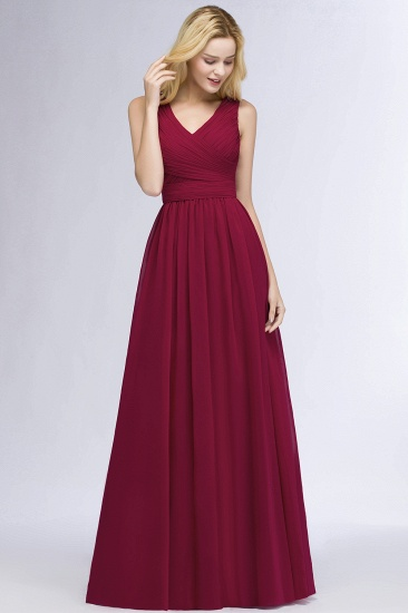 Vintage Sleeveless Pleated Burgundy Chiffon Bridesmaid Dresses Cheap_4