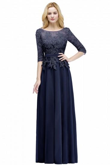 BMbridal A-line Floor Length Half Sleeves Appliques Bridesmaid Dress with Sash_4