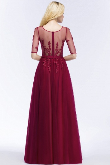 BMbridal A-line Floor Length Appliques Tulle Bridesmaid Dress with Sleeves_6