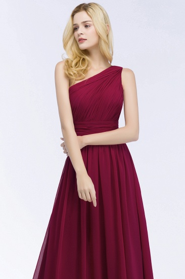 Chic One-shoulder Sleeveless Burgundy Chiffon Bridesmaid Dresses Online_56